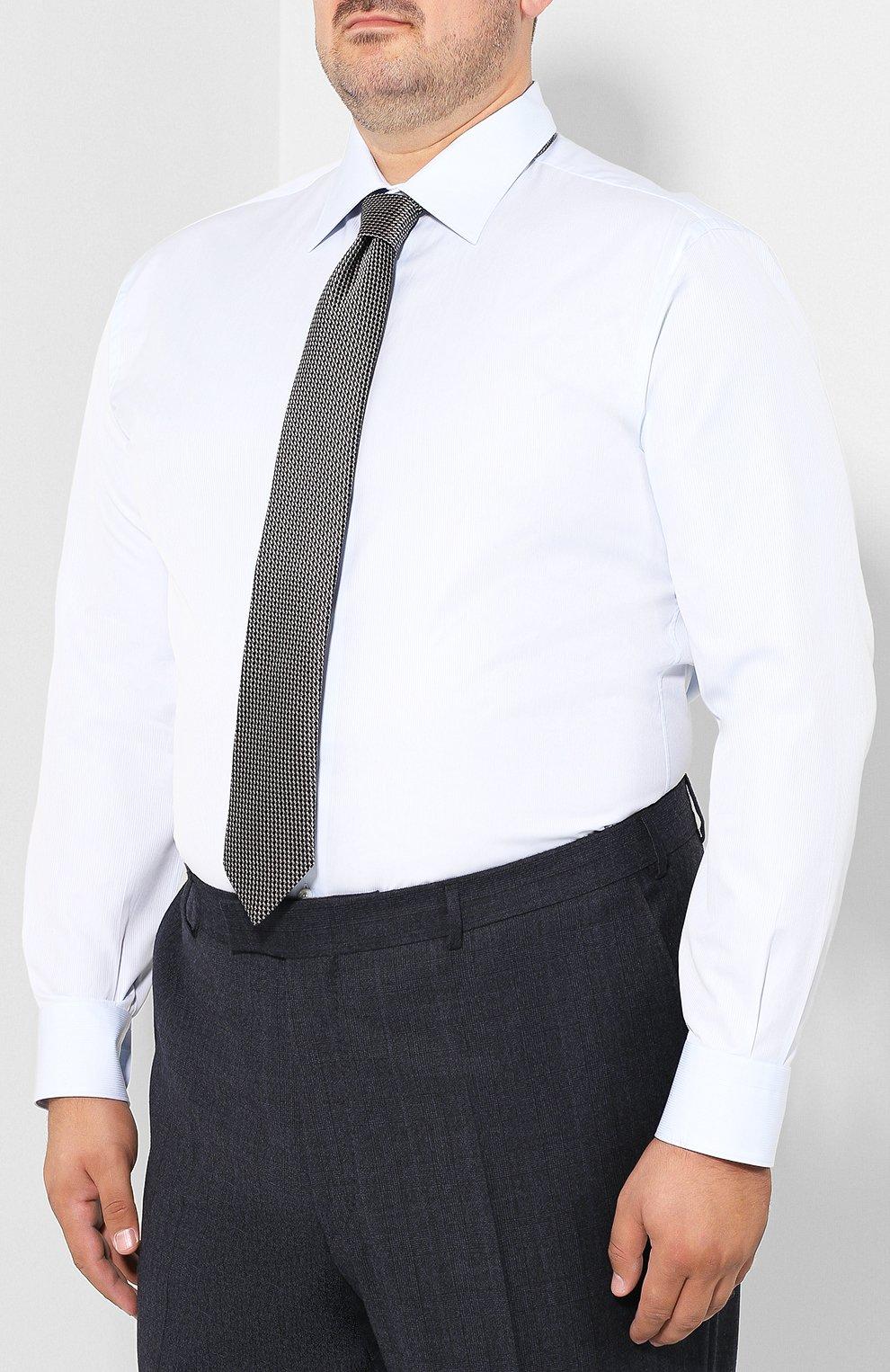 Мужская хлопковая сорочка с воротником кент BRIONI голубого цвета, арт. RCLU2V/PZ001 | Фото 4
