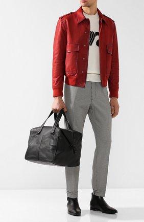 Кожаная дорожная сумка на молнии с плечевым ремнем | Фото №2