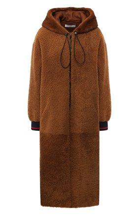 Меховое пальто с капюшоном из овчины | Фото №1
