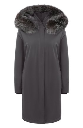Однотонная куртка с меховой отделкой капюшона | Фото №1