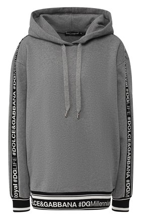 Женский хлопковый пуловер с капюшоном DOLCE & GABBANA серого цвета, арт. F9D14T/FU7DU | Фото 1