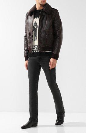 Мужские джинсы прямого кроя SAINT LAURENT темно-серого цвета, арт. 530365/Y772T | Фото 2