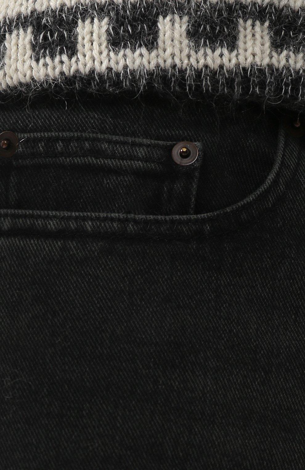 Джинсы прямого кроя Saint Laurent темно-серые | Фото №5