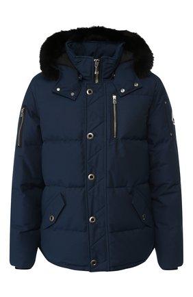 Пуховая куртка 3Q на молнии с меховой отделкой капюшона | Фото №1