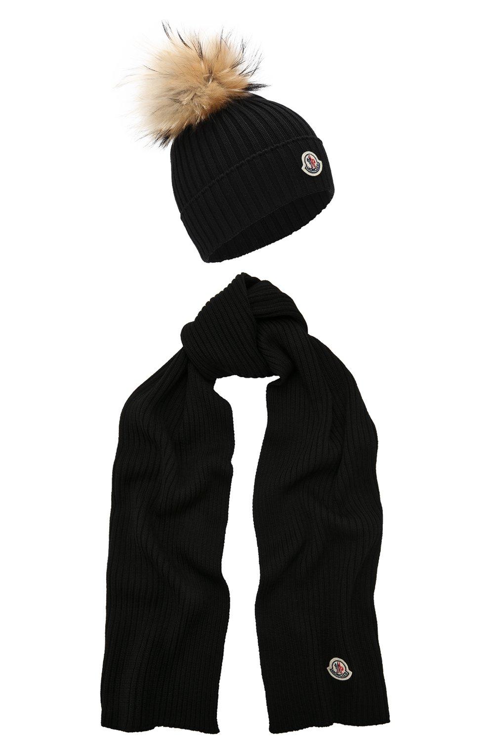Детский комплект из шапки и шарфа MONCLER ENFANT черного цвета, арт. D2-954-00951-06-04S01   Фото 1 (Материал: Шерсть; Статус проверки: Проверено, Проверена категория)