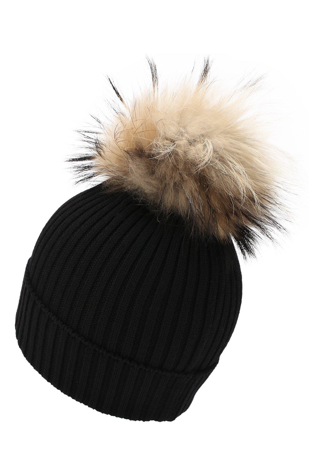 Детский комплект из шапки и шарфа MONCLER ENFANT черного цвета, арт. D2-954-00951-06-04S01   Фото 2 (Материал: Шерсть; Статус проверки: Проверено, Проверена категория)