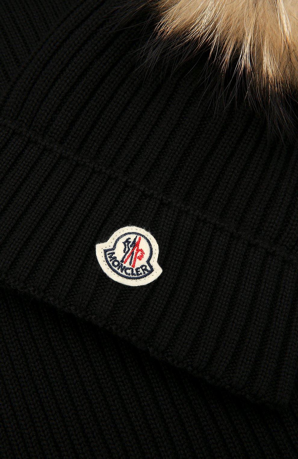 Детский комплект из шапки и шарфа MONCLER ENFANT черного цвета, арт. D2-954-00951-06-04S01   Фото 3 (Материал: Шерсть; Статус проверки: Проверено, Проверена категория)