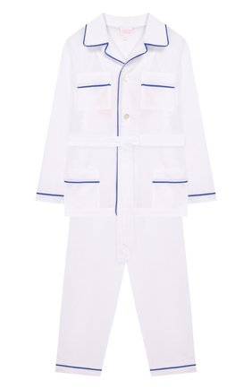 Женская хлопковая пижама с поясом LORETTA CAPONI белого цвета, арт. 182K01188300701 | Фото 1