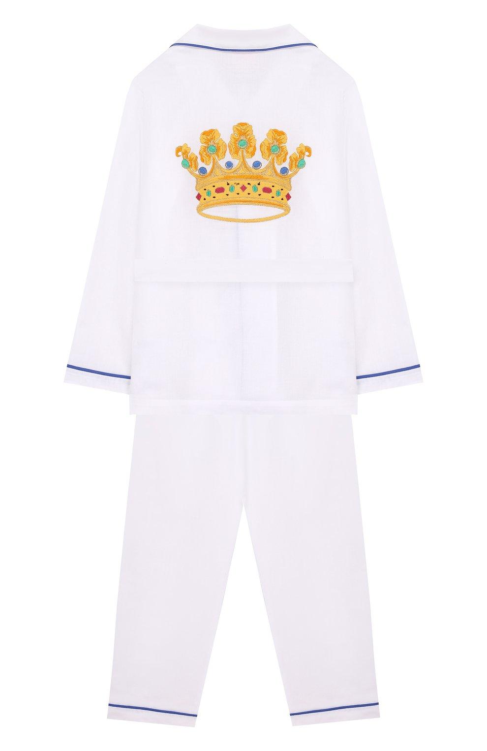 Женская хлопковая пижама с поясом LORETTA CAPONI белого цвета, арт. 182K01188300701 | Фото 2