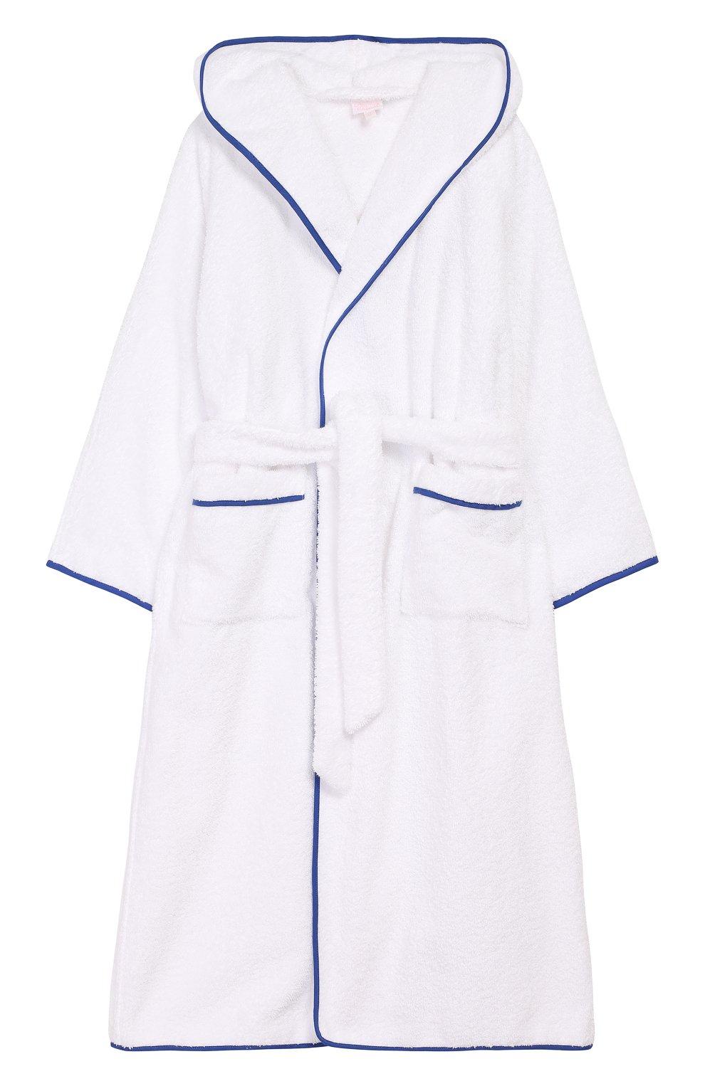 Детский хлопковый халат с капюшоном LORETTA CAPONI белого цвета, арт. 182K04188301301 | Фото 1
