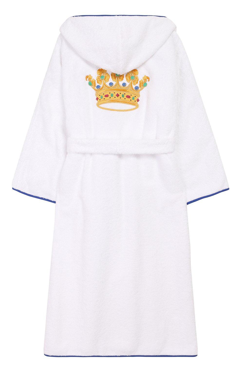 Детский хлопковый халат с капюшоном LORETTA CAPONI белого цвета, арт. 182K04188301301 | Фото 2