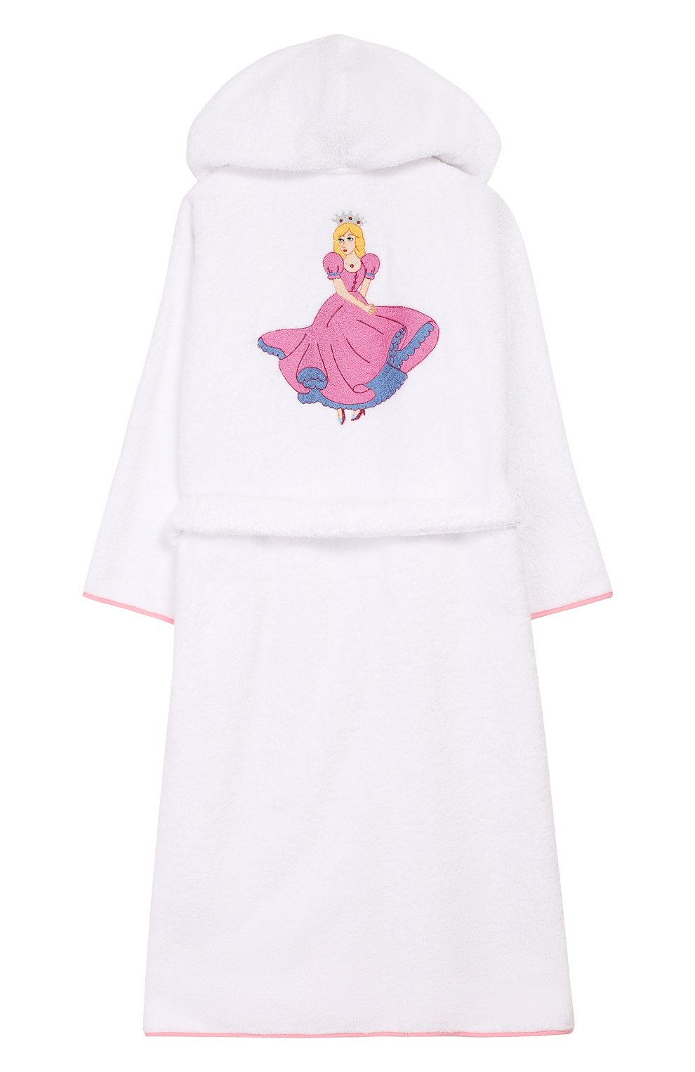 Детский хлопковый халат с капюшоном LORETTA CAPONI белого цвета, арт. 182K04208301301   Фото 2