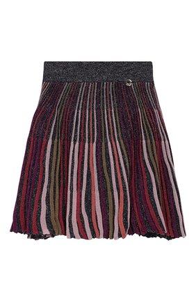 Плиссированная юбка из вискозы с металлизированной отделкой | Фото №1