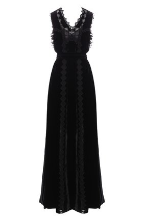 Бархатное платье-макси с кружевной отделкой | Фото №1