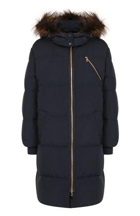 Стеганая куртка с меховой отделкой капюшона | Фото №1