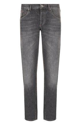 Мужские джинсы прямого кроя BRUNELLO CUCINELLI серого цвета, арт. MH203B2220 | Фото 1