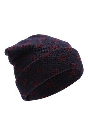 Шерстяная шапка с принтом GG | Фото №1