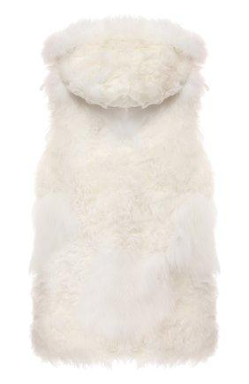 Детский меховой жилет с капюшоном YVES SALOMON ENFANT белого цвета, арт. 9WEG345XXKAFF/8-12 | Фото 2