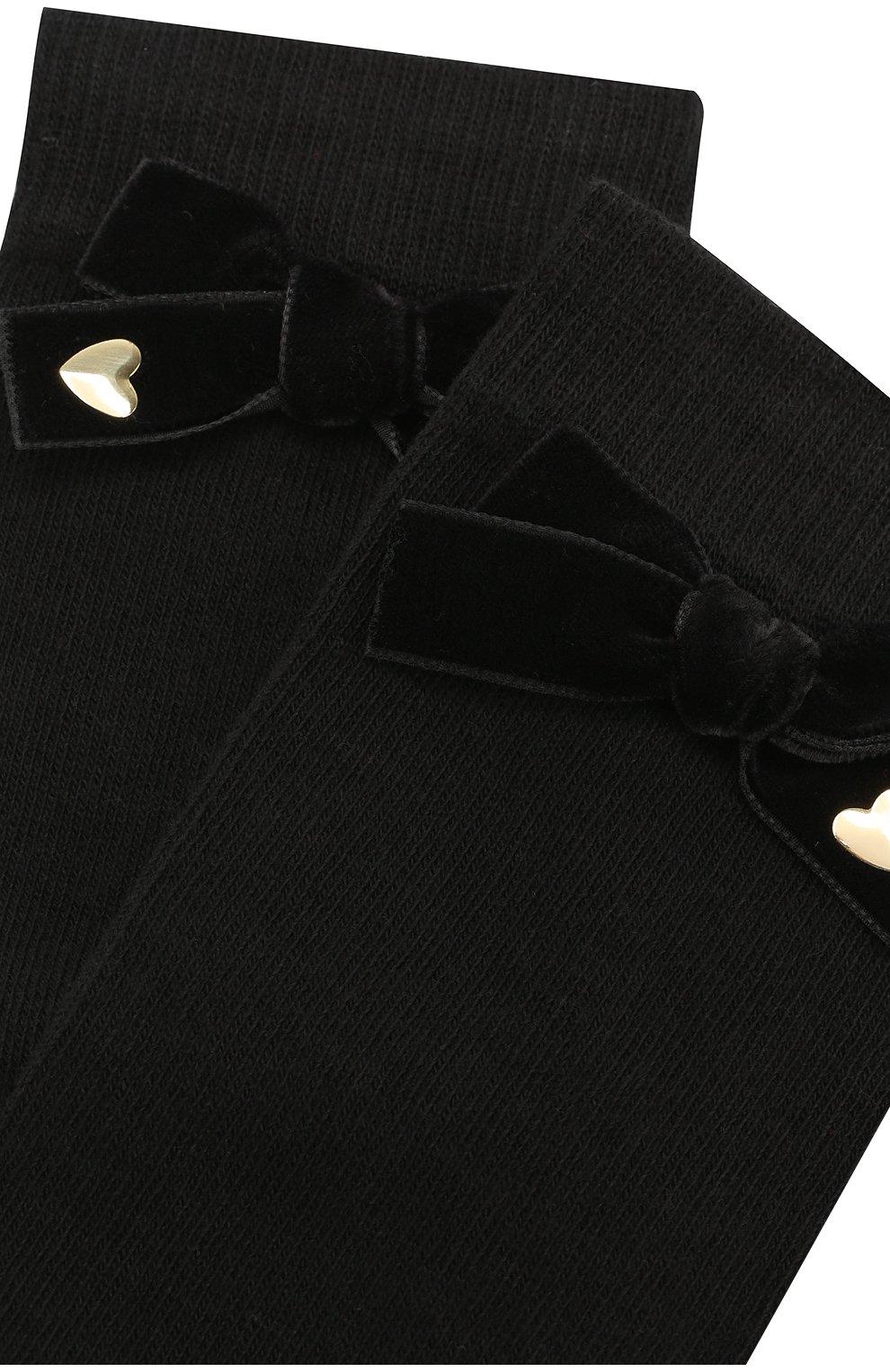 Детские хлопковые носки с бантом Twinset черного цвета   Фото №2