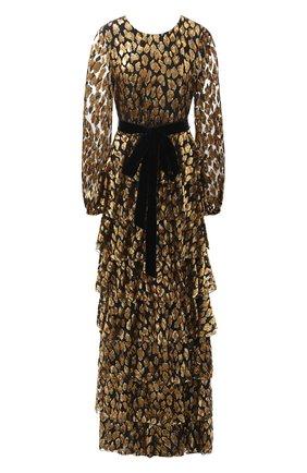 Бархатное платье-макси с поясом | Фото №1