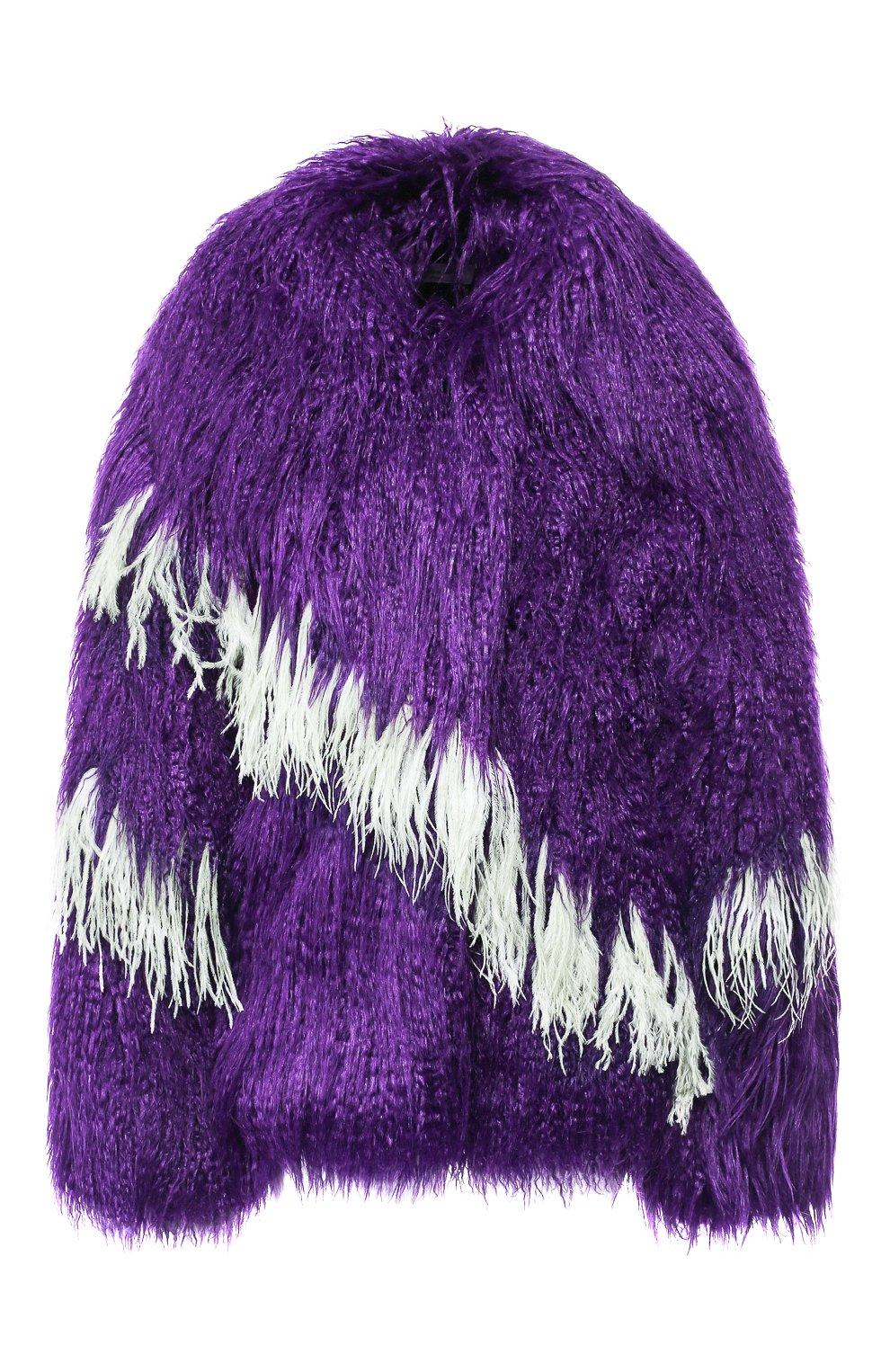 Меховое пальто с контрастными перьями   Фото №1