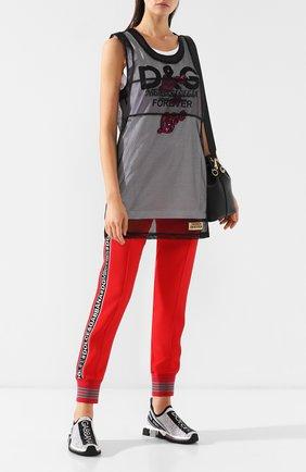 Женская топ в сетку с логотипом бренда DOLCE & GABBANA черного цвета, арт. F7A4MZ/FLMJ4 | Фото 2
