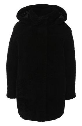Меховое пальто из овчины с капюшоном | Фото №1