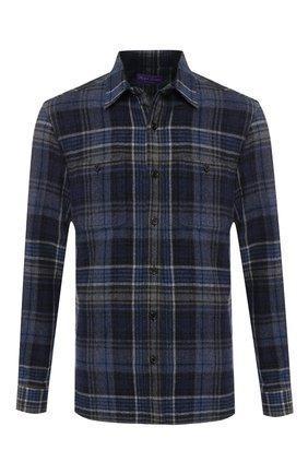 Мужская рубашка из смеси шерсти и кашемира с воротником кент RALPH LAUREN темно-синего цвета, арт. 790720966   Фото 1