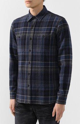 Мужская рубашка из смеси шерсти и кашемира с воротником кент RALPH LAUREN темно-синего цвета, арт. 790720966   Фото 3