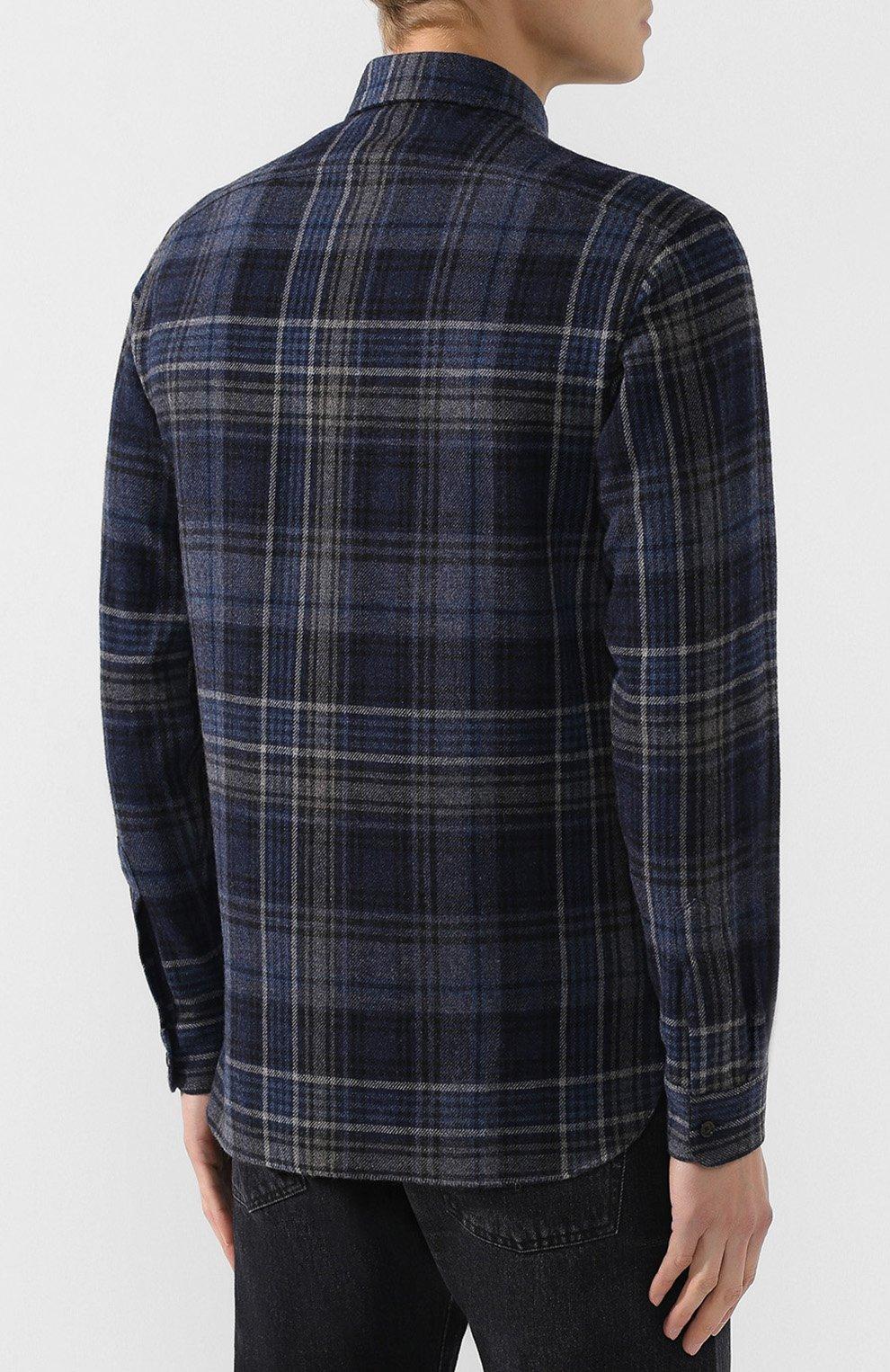 Мужская рубашка из смеси шерсти и кашемира с воротником кент RALPH LAUREN темно-синего цвета, арт. 790720966   Фото 4