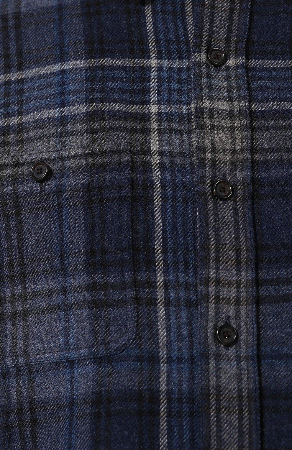 Мужская рубашка из смеси шерсти и кашемира с воротником кент RALPH LAUREN темно-синего цвета, арт. 790720966   Фото 5