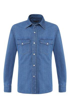 Мужская джинсовая рубашка  TOM FORD синего цвета, арт. 4FT440/94MAHA | Фото 1