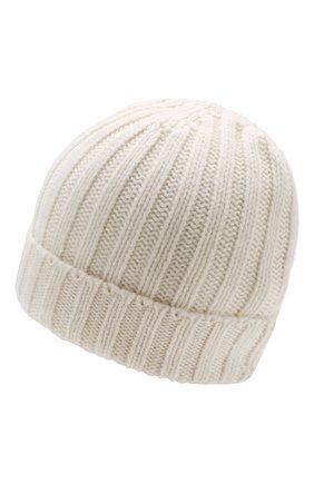 Мужская кашемировая шапка фактурной вязки ALLUDE белого цвета, арт. 185/61004 | Фото 2
