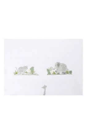 Детского хлопковый пододеяльник с вышивкой LORETTA CAPONI белого цвета, арт. 182K23278301701 | Фото 1