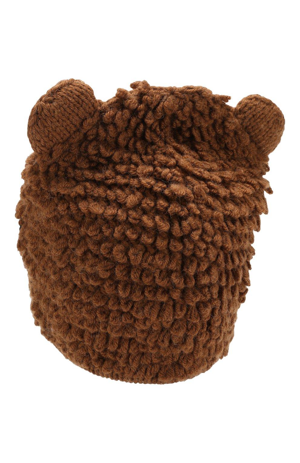 Шапка из смеси шерсти и кашемира Dolce & Gabbana коричневого цвета | Фото №2