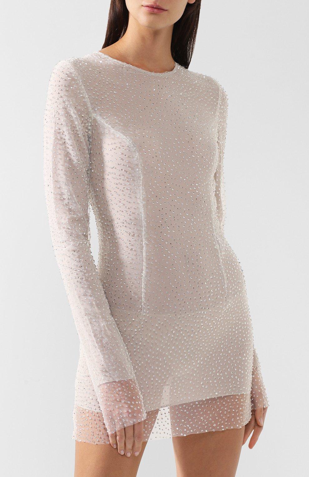 Мини-платье с декоративной отделкой Walk of Shame бежевое | Фото №3
