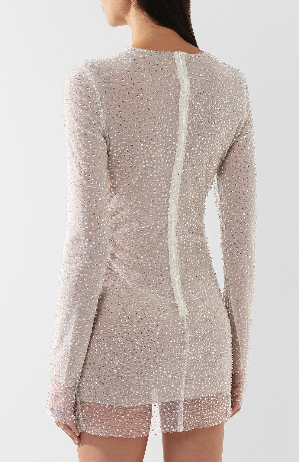 Мини-платье с декоративной отделкой Walk of Shame бежевое | Фото №4