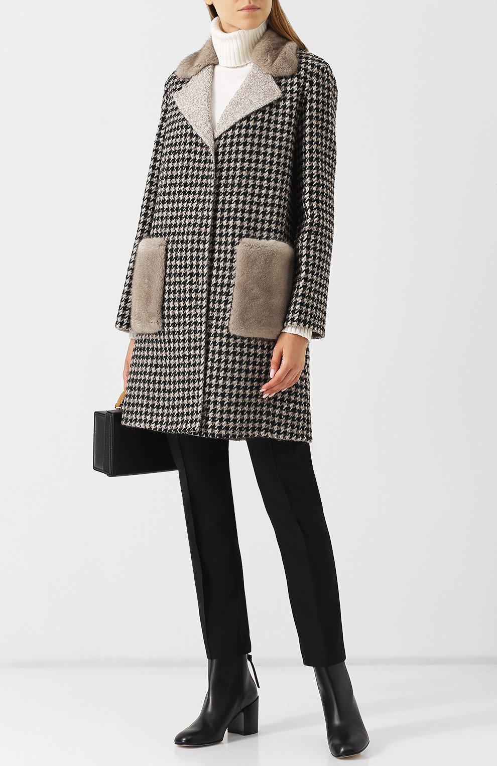 Шерстяное пальто с отделкой из меха норки MANZONI24 серого цвета ... 3eaef3650bfa3