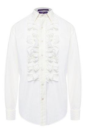 Женская однотонная хлопковая блуза RALPH LAUREN белого цвета, арт. 290726807 | Фото 1