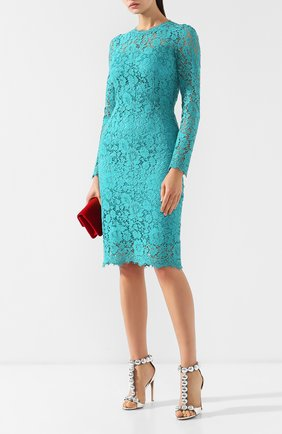 Женское кружевное платье с круглым вырезом DOLCE & GABBANA бирюзового цвета, арт. F6MX2T/HLMHW | Фото 2