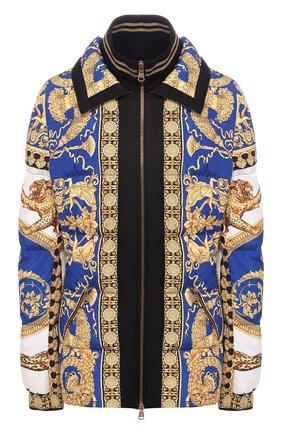 Стеганая куртка с принтом и воротником-стойкой  | Фото №1