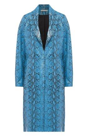 Кожаное пальто с принтом Alice + Olivia бирюзового цвета | Фото №1