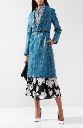 Кожаное пальто с принтом Alice + Olivia бирюзового цвета | Фото №2