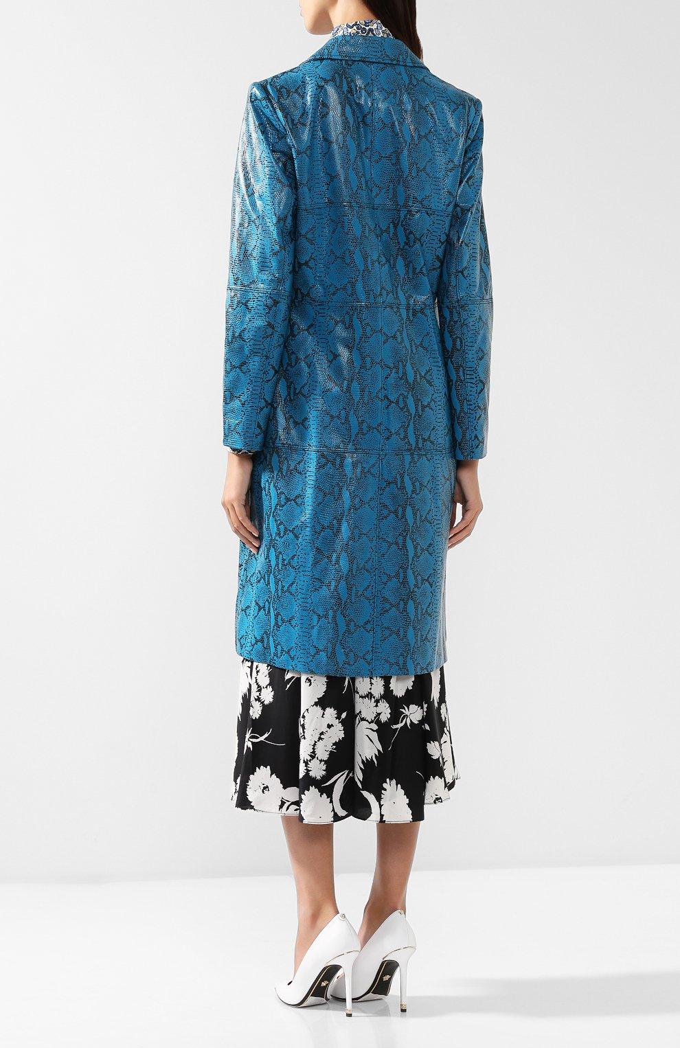 Кожаное пальто с принтом Alice + Olivia бирюзового цвета | Фото №4