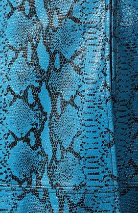 Кожаное пальто с принтом Alice + Olivia бирюзового цвета | Фото №5