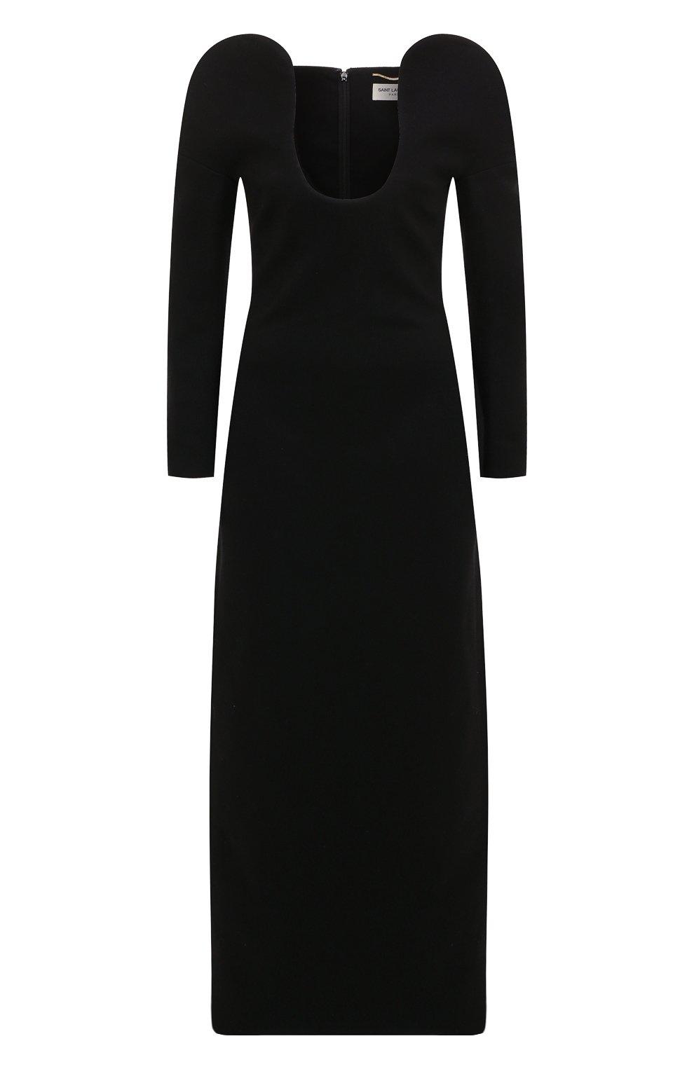 Шерстяное платье-макси с глубоким вырезом Saint Laurent черное | Фото №1