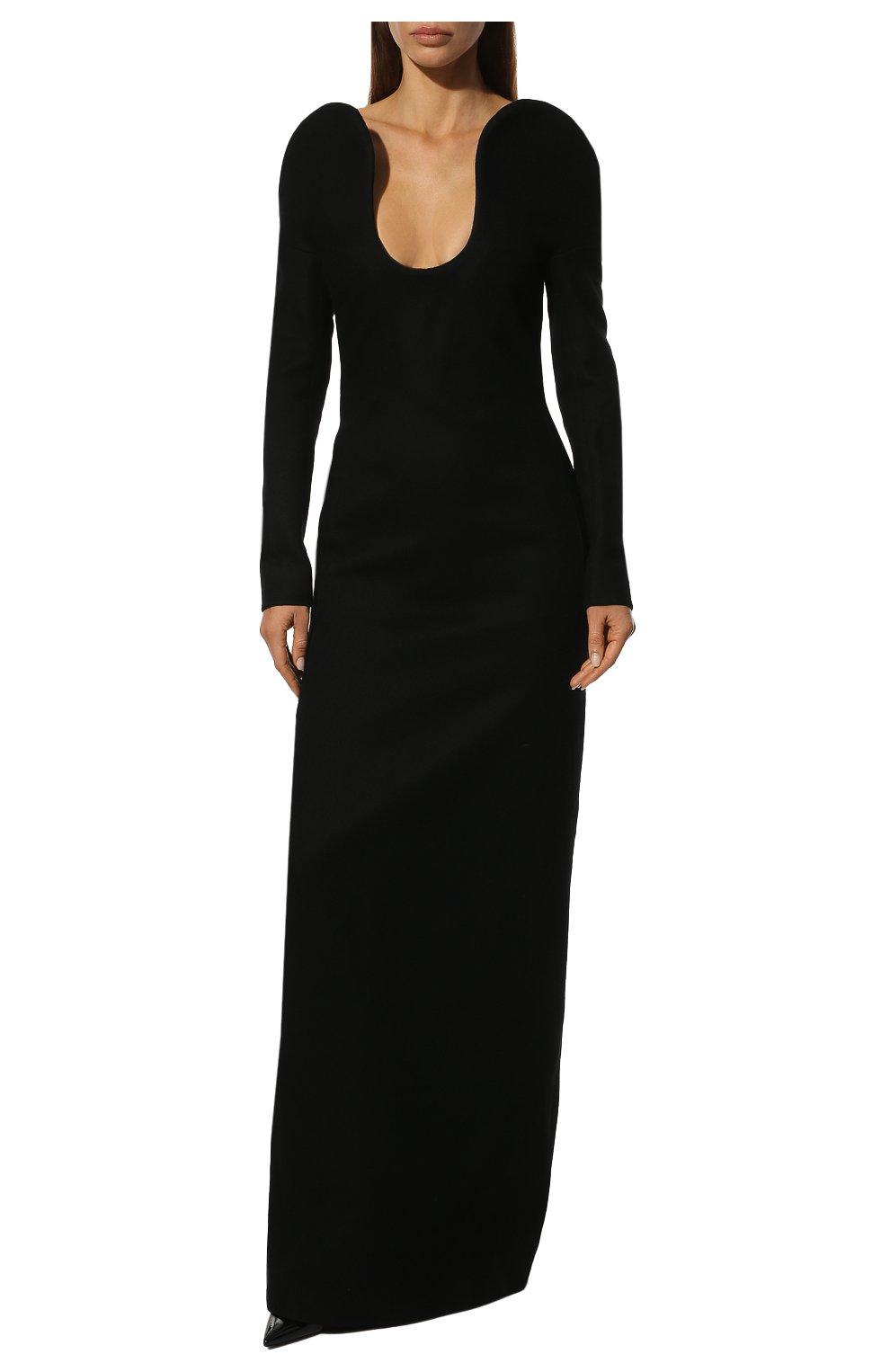 Шерстяное платье-макси с глубоким вырезом Saint Laurent черное | Фото №2