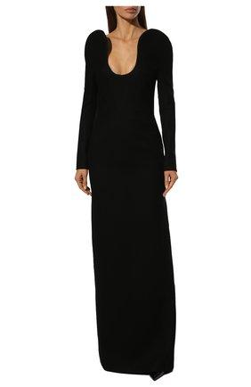 Шерстяное платье-макси с глубоким вырезом Saint Laurent черное | Фото №3