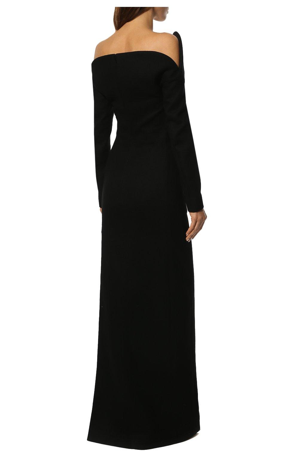 Шерстяное платье-макси с глубоким вырезом Saint Laurent черное | Фото №4