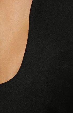 Шерстяное платье-макси с глубоким вырезом Saint Laurent черное | Фото №5